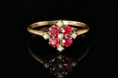 Antique Early Victorian 14K Gold Ruby Seed Pearls Ring  (102416044)