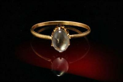 Antique Victorian Moonstone Cabochon 18K Gold Ring  (09161669)