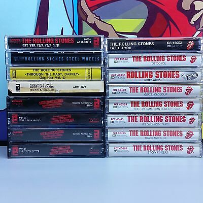 The Rolling Stones Lot Of 16 Cassette Tapes yer steel more hot tattoo dirty 24z