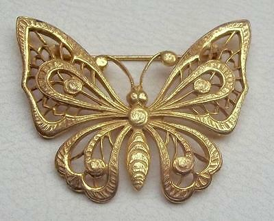 MIRIAM HASKELL Vintage Brooch Gorgeous Russian Gold Filigree BUTTERFLY