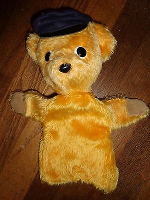 Vintage Mohair Bear Hand PUPPET Golden with Hat Straw Stuffed