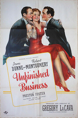 """One Sheet Poster - IRENE DUNNE - ROBT. MONTGOMERY - """"Unfinished Business"""" - 1941"""