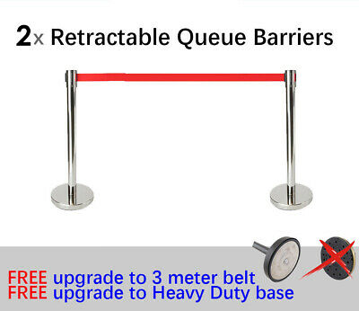 2x 3m Retractable Queue Crowd Barriers Crowd Control (Silver Pole & Red Belt)