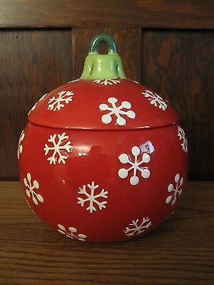 RED SNOWFLAKE LARGE Christmas Holiday Bulb Ornament Cookie Jar by Harbor East