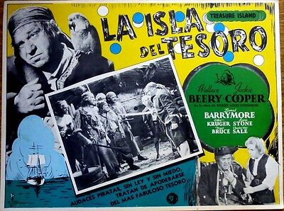 TREASURE ISLAND Mexican Lobby Card WALLACE BEERY JACKIE COOPER LIONEL BARRYMORE