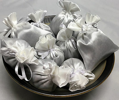 Set of 10 Lavender Sachets made with White Satin Bags