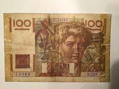 1948, 100 Francs France a Very High Value Banknote