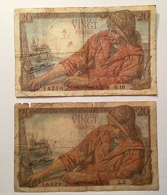 1942, 20 Francs France P100a, Lot of 2 Vintage Very High Value Banknotes