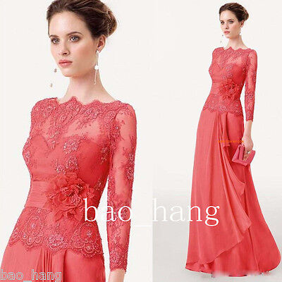Elegant Red Mother of Bride Evening Party Dress Long Sleeve Lace Formal Gown New