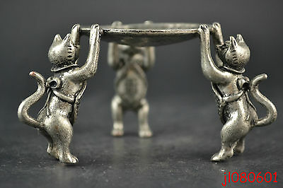 China Collectible Noble Decorate Old Miao Silver Carve 3 Cat Hold Candlestick