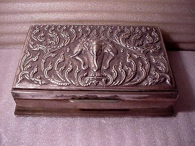 Siam Sterling Cigarette Case w Raised Relief 3 Headed Effigy Elephant On Top
