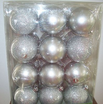 """Holiday Time Christmas Ornaments Traditional 2.5"""" Shatterproof Set of 24 Silver"""