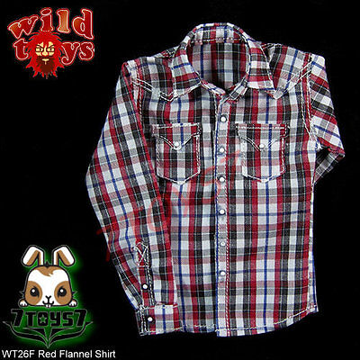 Wild Toys 1/6 026 Grid_ Red Flannel Shirt _Fashion Now WT032F