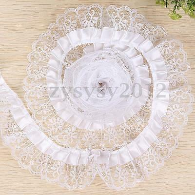 5 Yards DIY Pleated Organza Lace Edge Trim Gathered Mesh Ribbon Wedding Sewing