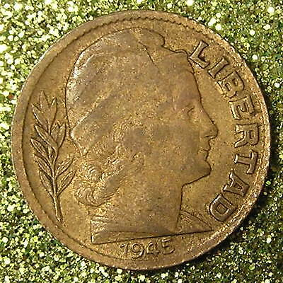 1-Coin from Argentina.  10-Centavos.  1945.