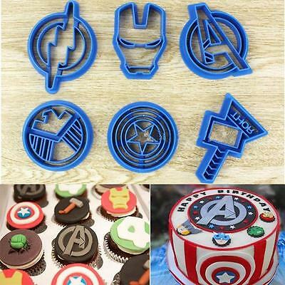 6xMarvel Cookie Cutter Cpt America,Iron Man, Avengers,Thor,Flash,Shield Set - CB