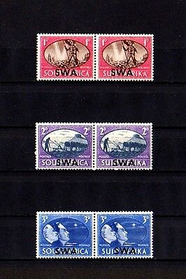 South West Africa - 1945 - Peace  Issue - Victory - Hope - 3 X Mint - Mnh Pairs!