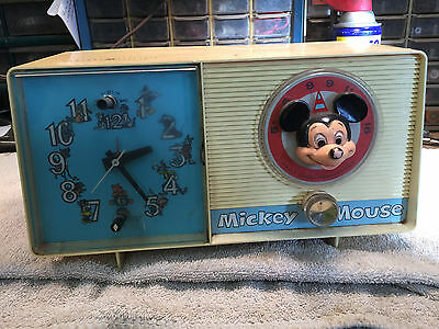 1960's MICKEY MOUSE CLOCK RADIO VINTAGE ANTIQUE
