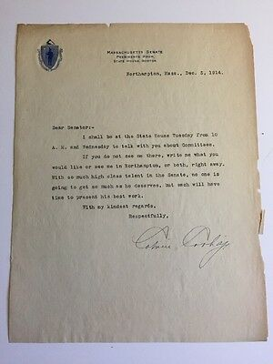 Calvin Coolidge 1914 Typed Letter Signed as President of Massachusetts Senate