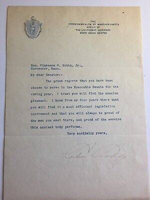 President Calvin Coolidge Typed Letter Signed -Lieutenant Governor Massachusetts