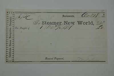 Callifornia Steam Navigation Company, 1861 Dated Receipt for $0.50