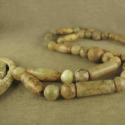 """26""""with Carved Dragon Totem Bi Pendant Chinese Antique Jade Beads Necklace"""