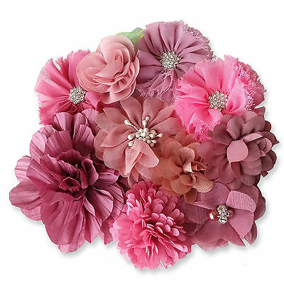 MAUVE PINK Fabric DIY Flowers CRAFT Glue/Sew On Embellishment Applique Garment