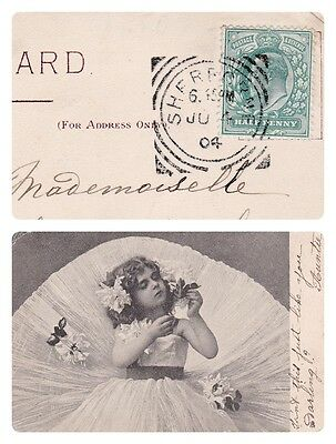 No 185 - Antique Tuck's Art #1794 Card 1904 -Very Pretty Girl- Printed Germany