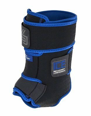 Shock Doctor Adjustable ICE Injury Recovery Compression Ankle Wrap - Black, S/M