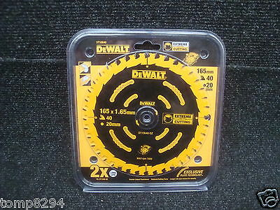Dewalt Extreme Dt10640 165Mm X 20Mm Bore X 40Tooth Tct Circular Saw Blade