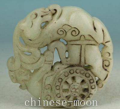 Lucky Chinese Old Jade Handmade Carved horse Statue Pendant Netsuke Ornament