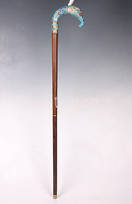 Cloisonne Elephant Cane Walking Stick Exquisite Woodiness   Collectable
