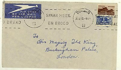 South Africa / Airmail / G.B. / King George 6 / Buckingham Palace.