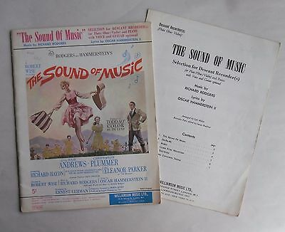 Vintage 1960s THE SOUND OF MUSIC Sheet Music/ Song Book & Recorder Book