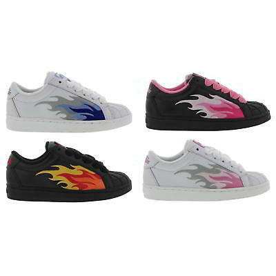 Buffalo Flame Superstar Womens Black White Leather Flame Trainers Size 4-8