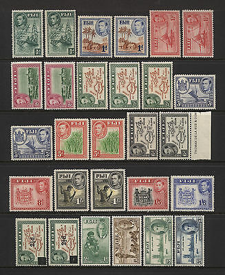 Fiji Collection 28 KGVI Stamps Mounted Mint