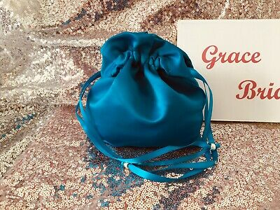 TURQUOISE SATIN DOLLY BAG BRIDAL BRIDESMAID FLOWER GIRL BNIP **free samples**