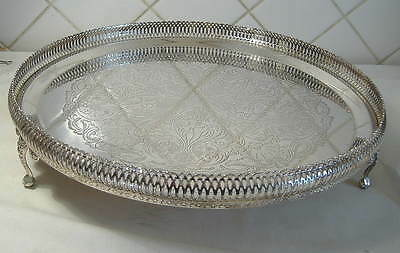 Silver Plated Circular Gallery Tray With Feet - 13.1/2 Ins.