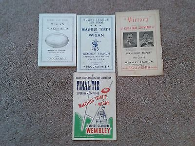 Wakefield Trinity v Wigan Rugby League Cup Final 4/5/1946 + 3 Pirate Programmes