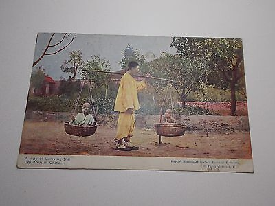 Antique Rpp Postcard Baptist Missionary Society Carrying Children China 1909