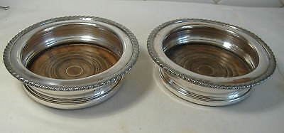Pair Of Vintage Silver Plate On Copper Bottle Coasters