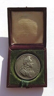 Cased Silver George I 1714 Coronation Medallion 34mm  Eimer 470