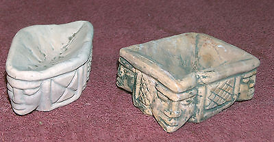 Pair Of Chalk Ware Mayan Or Aztec Heads - Incense Burners