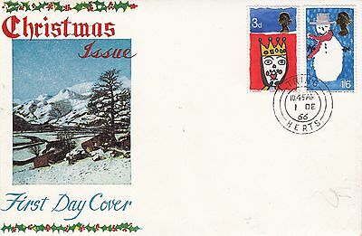 Christmas 1966, 3d with Queens head slippage, Tring, Herts handstamped 1.12.1966