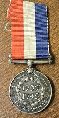 South Africa Ww2 Silver Medal For War Services 1939 - 1945 (Pm005)