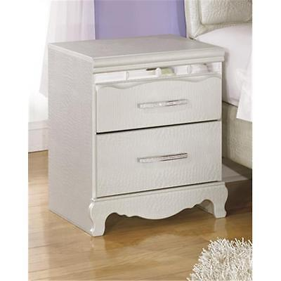 Ashley B182-92 Two Drawer Night Stand Silver
