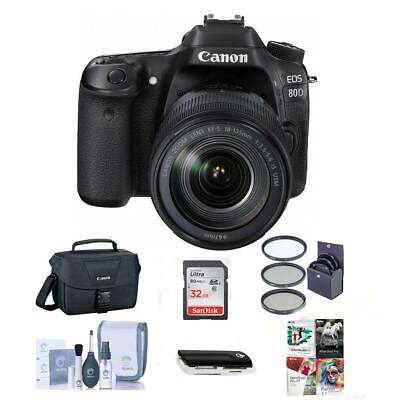 Canon EOS 80D DSLR with 18-135mm USM Lens and Free PC Accessory Bundle