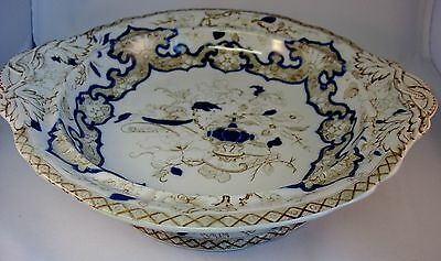 Antique Minton Footed Handled Dish 1891-1902 10.25 inches diameter