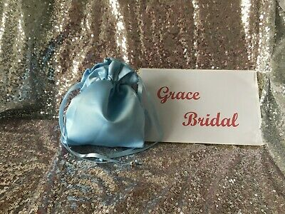 ICE BLUE SATIN DOLLY BAG BRIDESMAID PROM FLOWER GIRL BNIP **free samples**