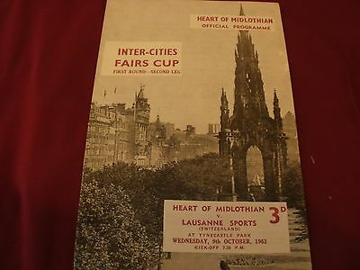 Hearts v Lausanne Sports, Fairs Cup 1963 Match Programme